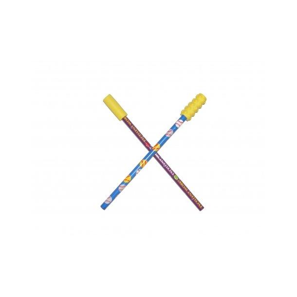 Tygge top til blyant glat/nopret - 2 stk