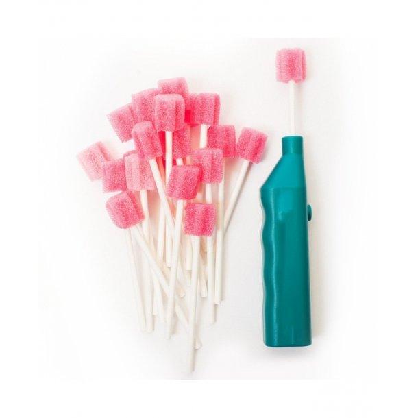 Vibrator til mundplejepinde sæt incl. 95 blandede mundplejepinde